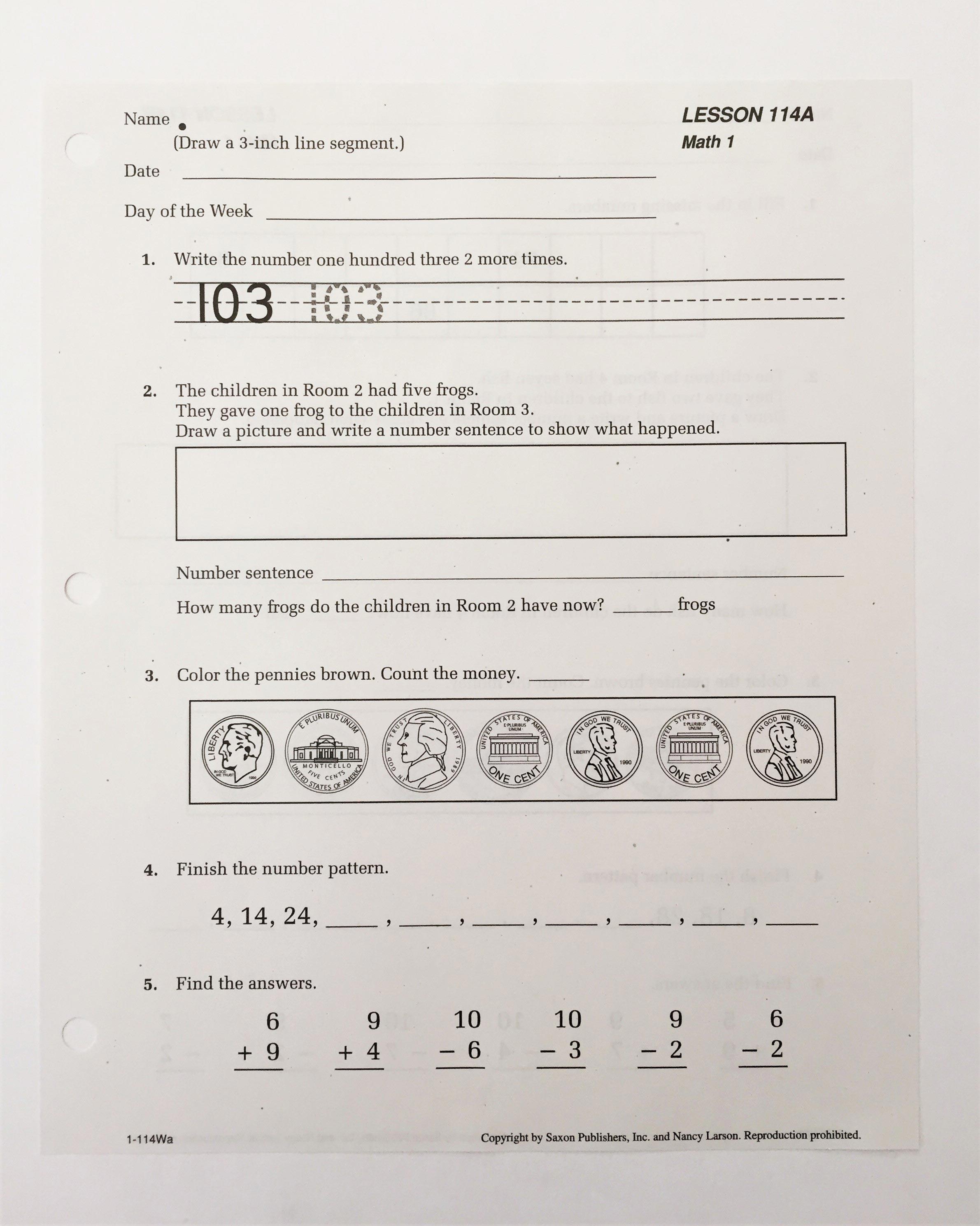 Saxon math grade 1 workbook pdf